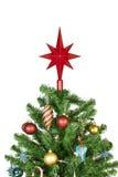 Weihnachtsbaumoberseite mit Verzierungen Stockbild