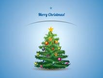 Weihnachtsbaumpostkarte Stockfoto