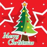 Weihnachtsbaumpostkarte Stockfotografie