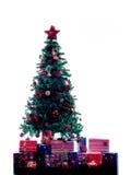 Weihnachtsbaumschattenbild lokalisiert Lizenzfreie Stockfotos
