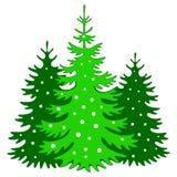 Weihnachtsbaumschattenbild mit Schneeflocken stock abbildung