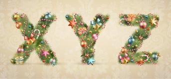 Weihnachtsbaumschrifttyp mit Flitter lizenzfreie abbildung