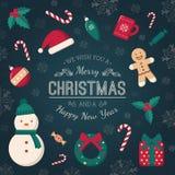 Weihnachtsbaumspielwaren und Grußtext Stockbild