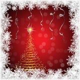 Weihnachtsbaumvektor Goldene Tanne auf einem roten Hintergrund mit Schneeflocken Lizenzfreie Stockfotos