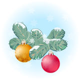 Weihnachtsbaumzweig und -kugeln Stockfotos