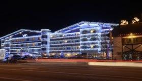 Weihnachtsbeleuchtung in Leavenworth Stockfotografie