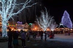 Weihnachtsbeleuchtung in Leavenworth Stockfoto