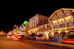 Weihnachtsbeleuchtung in Leavenworth 6 Lizenzfreies Stockfoto