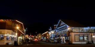 Weihnachtsbeleuchtung in Leavenworth Stockfotos