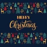 Weihnachtsbeschriftung mit Weihnachtsillustration Weihnachtsbeschriftung und Kalligraphiedesign Stockbilder