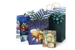 Weihnachtsbeutel mit Geschenken Lizenzfreies Stockfoto