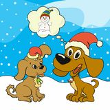 Weihnachtsbild mit zwei glücklichen Welpen Stockfotografie