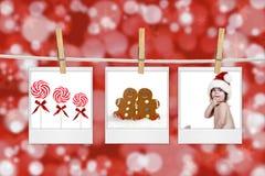 Weihnachtsbilder, die von einem Seil hängen Stockfotos