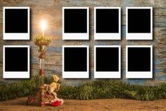 Weihnachtsbilderrahmen für acht Fotos Lizenzfreie Stockbilder