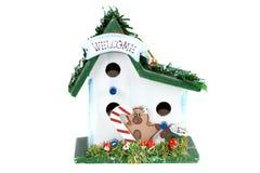 Weihnachtsbirdhousegruß. Stockfotos