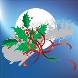 Weihnachtsblätter und -ren mit Weihnachtshintergrund und Grußkartenvektor lizenzfreie abbildung