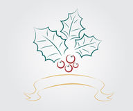 Weihnachtsblatt mit Bandhintergrund Lizenzfreie Stockfotos