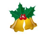 Weihnachtsblatt mit goldener Glocke Lizenzfreie Stockfotos