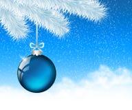 Weihnachtsblauer Ball 1 Stockfotos