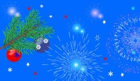 Weihnachtsblauer Hintergrund mit Gläsern, Feuerwerke Stockfotografie