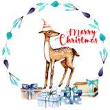 Weihnachtsblauer Kranz mit Aquarellrotwild und -Geschenkboxen lizenzfreie abbildung