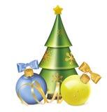 Weihnachtsbälle mit Bogen-, Serpentinen- und stilisiertemtannenbaum Stockbild