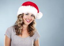 Weihnachtsblonde Frau Stockbild