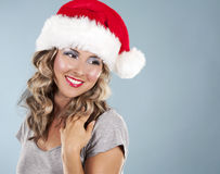 Weihnachtsblonde Frau Stockfotos