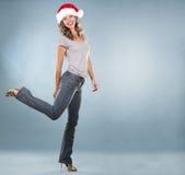 Weihnachtsblonde Frau Stockfotografie