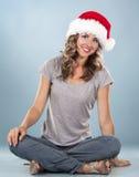 Weihnachtsblonde Frau Lizenzfreies Stockfoto