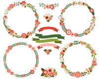 Weihnachtsblumen-Kranzgrenzen lizenzfreie abbildung