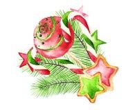 Weihnachtsbonbons lokalisiert auf einem Weiß: Süßigkeit, Kuchenknall, Plätzchen Ñ-‡ Lizenzfreie Abbildung