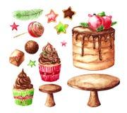 Weihnachtsbonbons: Schokoladenkuchen und kleiner Kuchen Vektor Abbildung