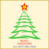 Weihnachtsbotschaft mit Baum Lizenzfreies Stockfoto