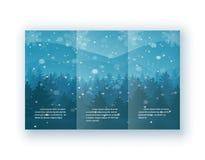 Weihnachtsbroschürenvektor-Illustrationssatz Blaues Winterthema mit fallendem Schnee, Fichten auf dem Hügel Stockbilder