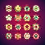 Weihnachtsbunte Neonschneeflocken Lizenzfreie Stockbilder