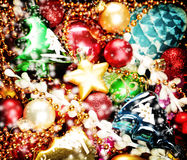Weihnachtsbunter Hintergrund Weihnachts- und des neuen Jahresdekoration Lizenzfreies Stockbild