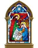 Weihnachtsbuntglasfenster im gotischen Rahmen vektor abbildung