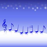 Weihnachtscarol-Musik auf Schnee Stockbild