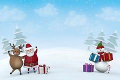 Weihnachtscharaktere in einer Landschaft des verschneiten Winters Stockfotografie
