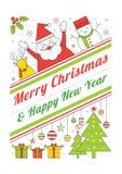 Weihnachtscharaktere, Linie Art-Plakat Lizenzfreies Stockfoto