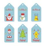 Weihnachtscharaktere, Linie Design, Tag und Aufkleber Stockbilder