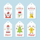 Weihnachtscharaktere, Linie Design, Tag und Aufkleber Lizenzfreie Stockfotos