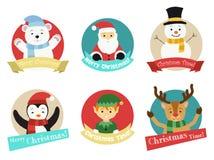Weihnachtscharaktere vom Nordpol lokalisiert lizenzfreie abbildung