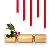 Weihnachtscracker und -farbbänder Lizenzfreies Stockbild