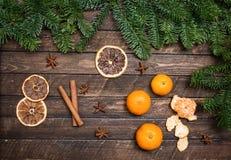Weihnachtsdekor mit Tangerinen, getrocknete orange Scheiben, Anis, cin Lizenzfreies Stockbild