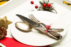 Weihnachtsdekoration auf der Tabelle Lizenzfreies Stockbild