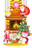 Weihnachtsdekoration der Sankt-Kinder, des Kamins und des Schneemannes - kreative Illustration eps10 Lizenzfreie Stockfotos