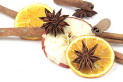 Weihnachtsdekoration - getrocknete Früchte Stockfotos