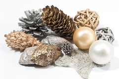 Weihnachtsdekoration im Silber und im Gold Stockfoto